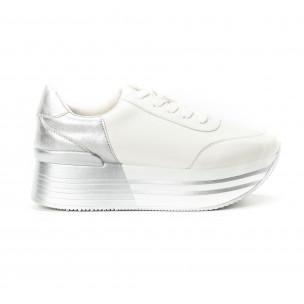 Pantofi sport cu platforma în argintiu-alb pentru dama
