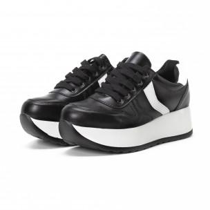 Pantofi sport cu platforma de dama în negru și alb 2