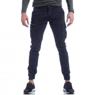 Pantaloni cargo albastru cu fermoar la glezna pentru bărbați