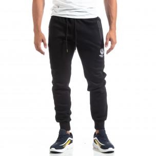 Pantaloni trening de bărbați Marshall Angel negri flaușați   2