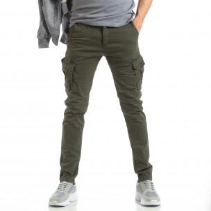 Pantaloni în verde tip cargo pentru bărbați