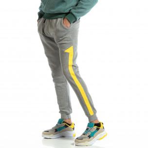 Pantaloni sport pentru bărbați din bumbac gri cu galben