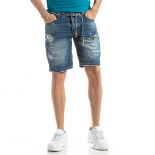 Blugi scurți albaștri pentru bărbați efect decolorat