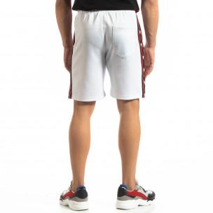 Pantaloni sport scurți albi de bărbați cu benzi și stele 2