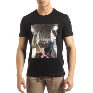 Tricou negru de bărbați cu imprimeu argintiu