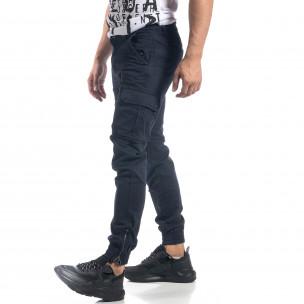 Pantaloni cargo albaștri flaușați pentru bărbați