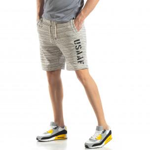 Pantaloni sport scurți de bărbați în melanj alb