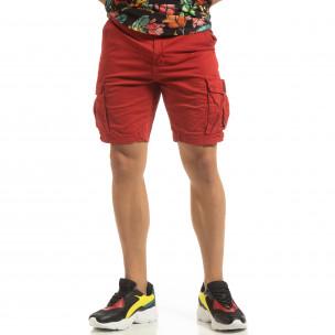 Pantaloni cargo scurți de bărbați în roșu cu detaliu