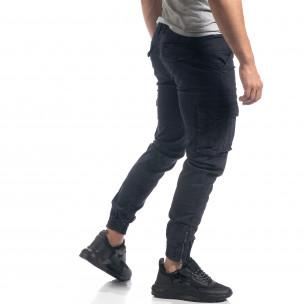 Pantaloni cargo de bărbați albaștri cu fermoare 2