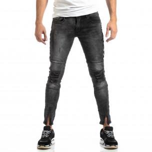 Worn Jeans în gri cu accente pentru bărbați  2