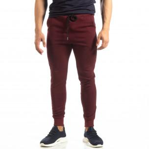 Pantaloni de trening de bărbați Basic bordo din bumbac   2