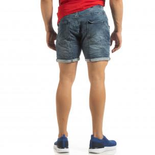 Blugi scurți elastici albaștri pentru bărbați  2