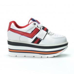 Pantofi sport albi pentru dama cu accente