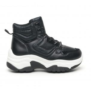 Pantofi sport înalți de dama negre tip botine