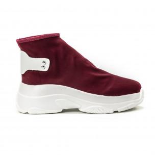Pantofi sport fără șireturi pentru dama din neopren roșu