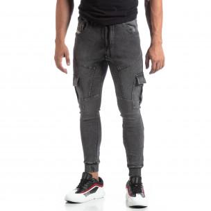 Pantaloni sport gri de bărbați tip Cargo Jeans