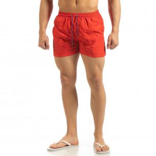 Șort de baie pentru bărbați roșu cu bandă albastră