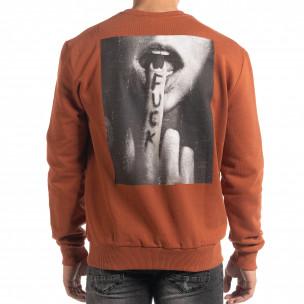 Bluză de bărbați cărămizie cu imprimeu pe spate  2