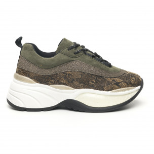 Pantofi sport voluminoși de dama în kaki și auriu