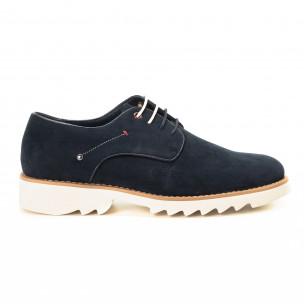 Pantofi casual din velur albastru pentru bărbați