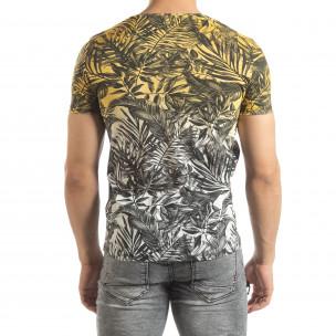 Tricou galben pentru bărbați motiv Leaves 2