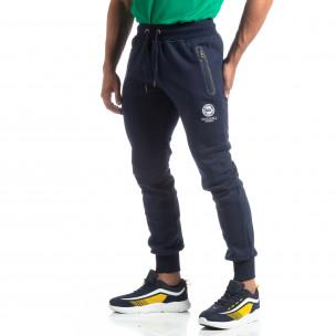 Pantaloni trening de bărbați Marshall Angel albaștri flaușați   2