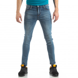 Blugi elastici albaștri slim fit pentru bărbați