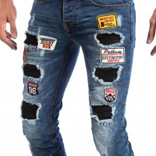 Slim Jeans albaștri cu aplicații și patch-uri pentru bărbați  2