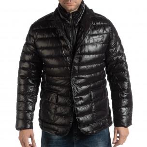 Geacă neagră din puf tip blazer pentru bărbați  2