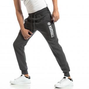 Pantaloni sport pentru bărbați gri cu inscripție