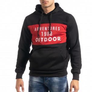 Hanorac de bărbați hoodie cu accent roșu