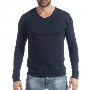Bluză în albastru închis V-neck pentru bărbați