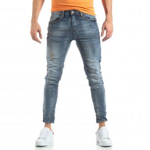 Washed Slim Jeans în gri-albastru  2