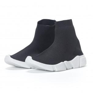 Pantofi sport de dama negri slip-on tip șosetă 2