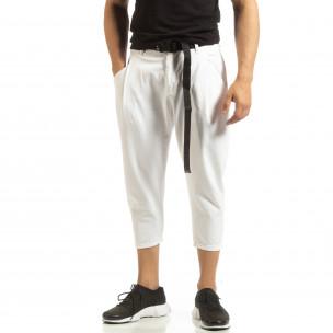 Pantaloni albi Cropped pentru bărbați