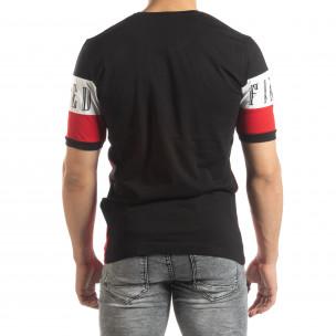 Tricou de bărbați în negru, alb și roșu  2