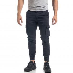Pantaloni cargo de bărbați albaștri cu fermoare