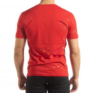 Tricou roșu pentru bărbați cu spray de vopsea  2