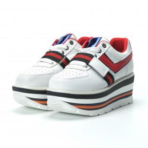 Pantofi sport albi pentru dama cu accente 2
