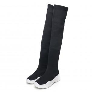 Cizme negre înalte de dama tip șosetă 2