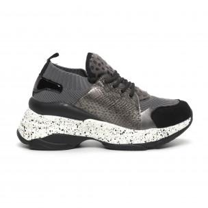 Pantofi sport de dama gri design Patchwork