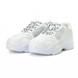 Adidași All white din materiale pe exterior combinate pentru bărbați   2