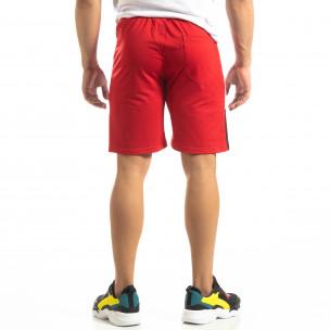 Pantaloni scurți sport roșii de bărbați cu alb și negru  2