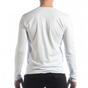 Bluză în alb V-neck pentru bărbați   2