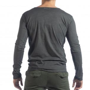 Bluză pentru bărbați gri Vintage stil 2