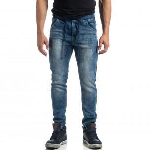 Blugi albaștri elastici pentru bărbați Jogger