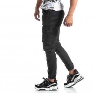 Pantaloni negri de bărbați cu buzunare cargo