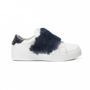 Teniși Slip-on albi de dama cu călcâi și puf albastru