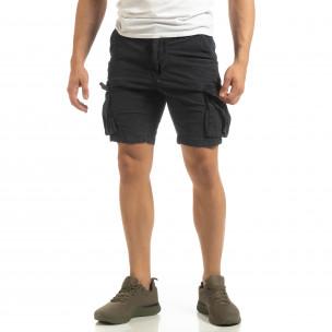 Pantaloni cargo scurți de bărbați Slim fit albaștri