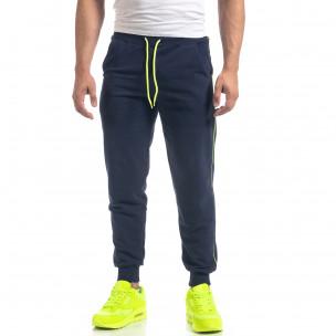Jogger de bărbați bleumarin din bumbac cu benzi neon
